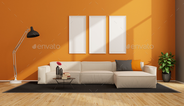 Minimalist living room with white sofa - Stock Photo - Images
