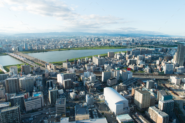 Osak city view from Umeda sky building - Stock Photo - Images