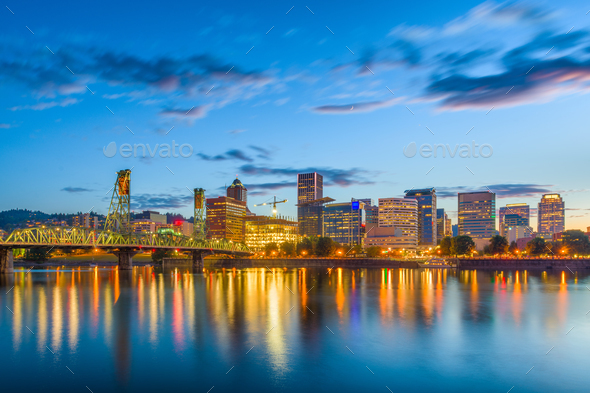 Portland, Oregon, USA Skyline - Stock Photo - Images