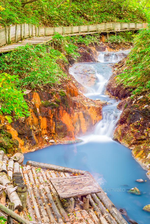 Natural Footbath Hot springs in Japan - Stock Photo - Images