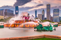 Chicago, Illinois, USA Fountain and Skyline - PhotoDune Item for Sale