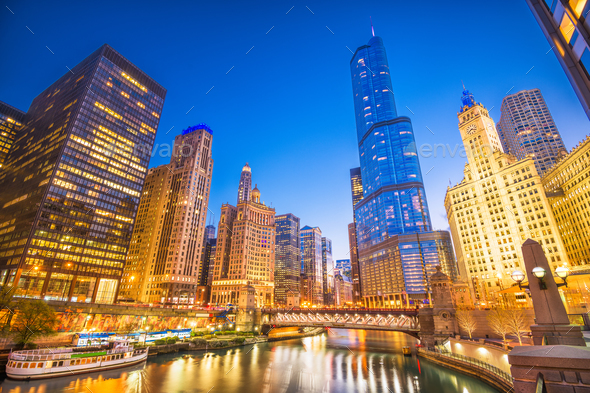 Chicago, Illinois, USA Cityscape - Stock Photo - Images