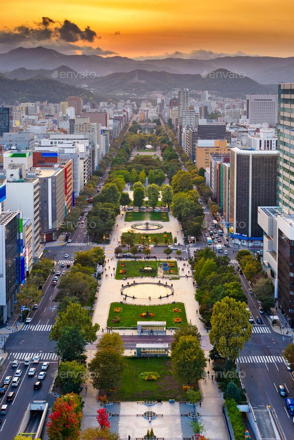 Sapporo, Japan Odori Park Cityscape - Stock Photo - Images