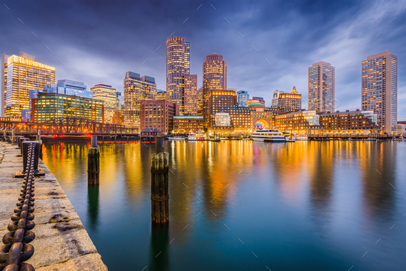 Boston, Massachusetts, USA Harbor Skyline - Stock Photo - Images