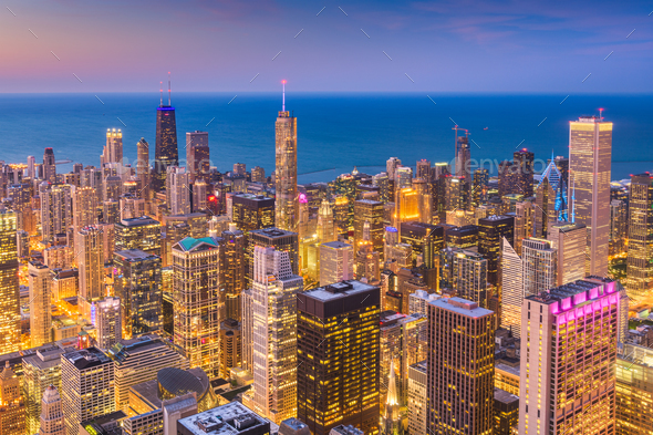 Chicago, Illinois, USA Skyline at Dusk - Stock Photo - Images