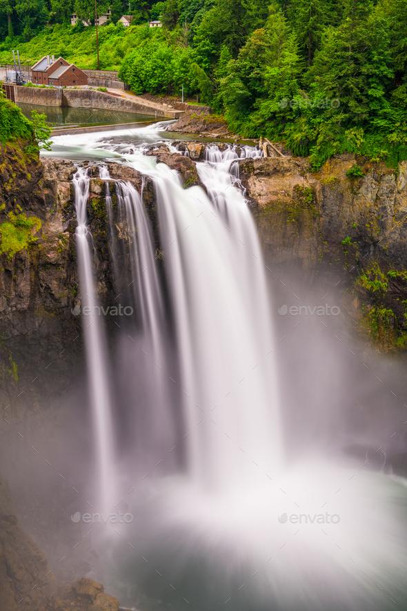 Snoqualmie Falls, Washington, USA - Stock Photo - Images