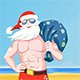 Santa Claus Wearing Sunglasses Carrying a Sack of Presents on a Tropical Beach