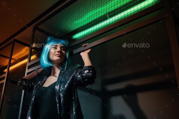 Pop girl portrait wearing blue wig - Stock Photo - Images