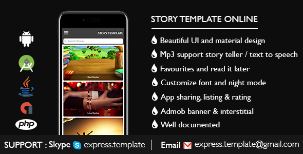 Story Template for Android with PHP Admin            Nulled