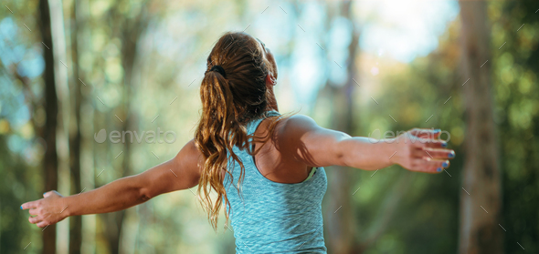 Woman Exercising Outdoors in The Fall - Stock Photo - Images