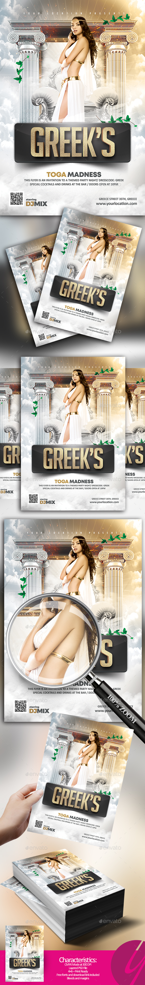 Greek's Toga Madness Flyer - Clubs & Parties Events