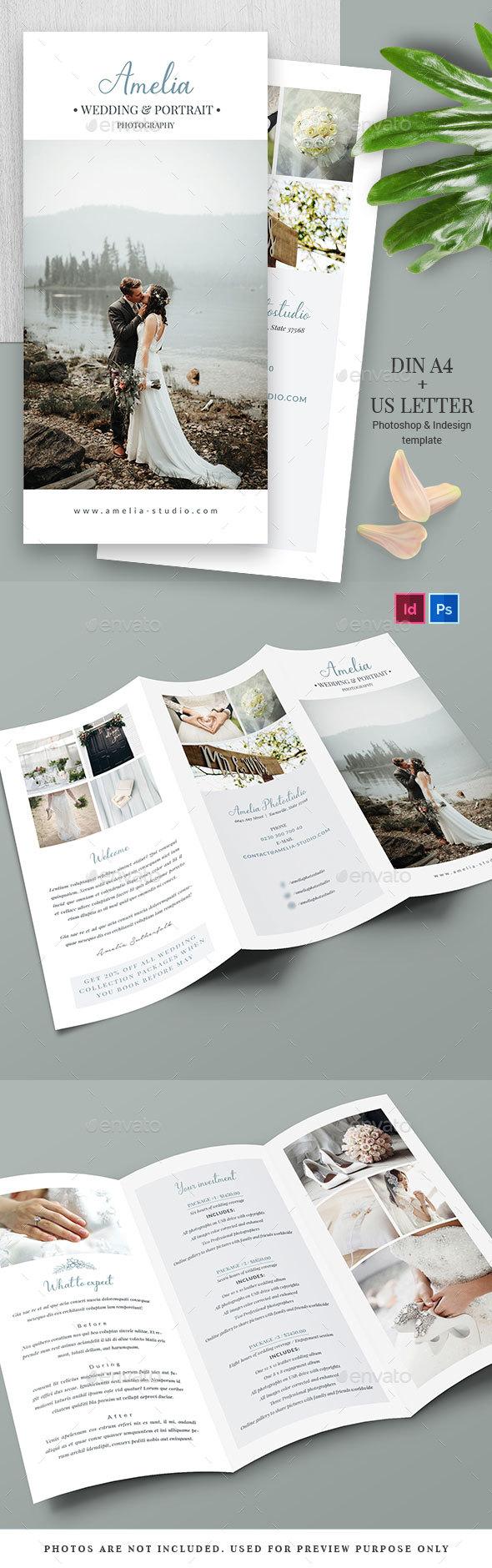 Photographer/Wedding Trifold Brochure - Brochures Print Templates