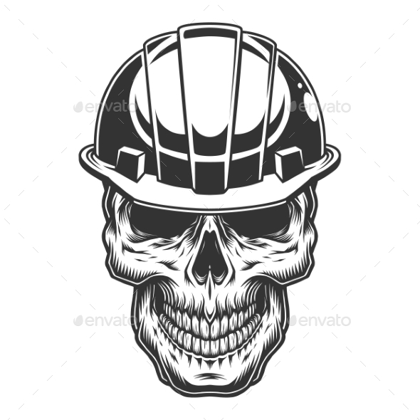 Skull in the Miner Helmet - Industries Business