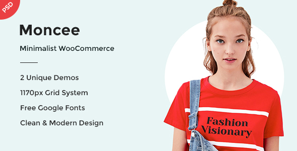 Moncee - Minimal eCommerce PSD Template - Retail PSD Templates