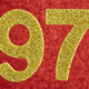 Number ninety-seven golden color over a red background. Anniversary. Horizontal - PhotoDune Item for Sale