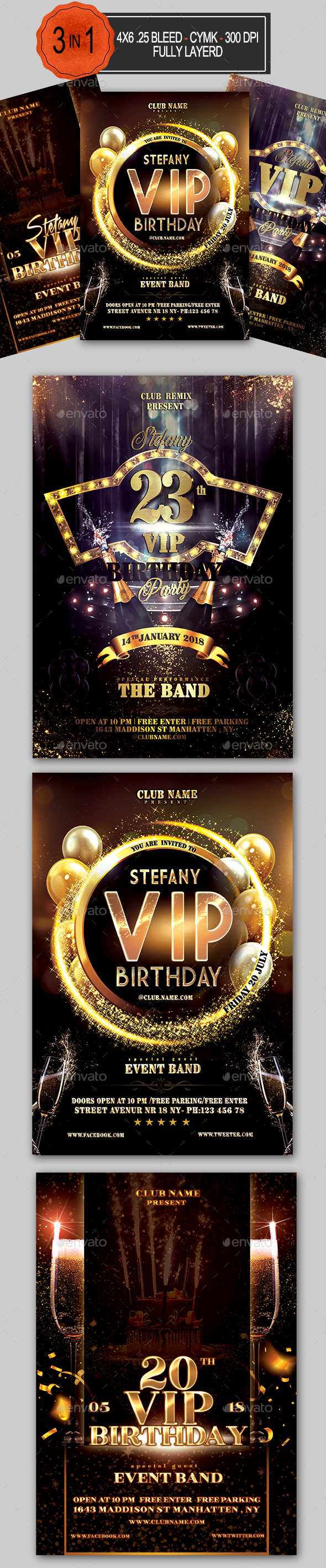 VIP Birthday Flyer Bundle - Clubs & Parties Events