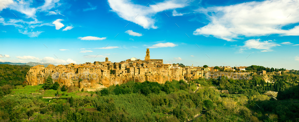 Tuscany, Pitigliano medieval village panorama landscape. Italy - Stock Photo - Images