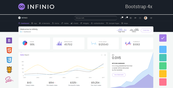 InfiniO - Bootstrap 4 Admin Dashboard template + UI Kit