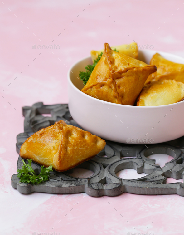 Small Pies with Meat Samsa - Stock Photo - Images