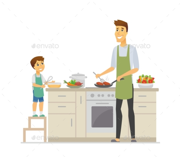 Father and Son Cooking - Cartoon People Characters - People Characters