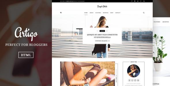 Image of Artigo – Simple And Minimal Blog Template