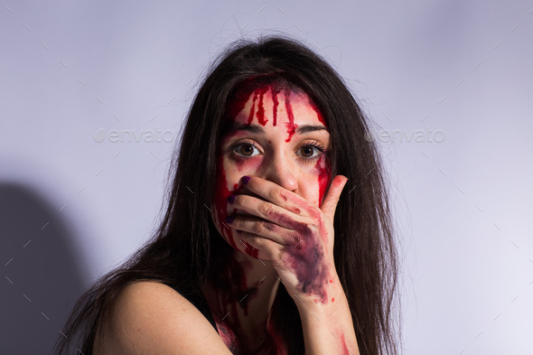 STOP Violence With Women, Scared beaten white woman crying - Stock Photo - Images