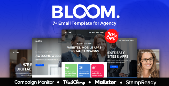 BLOOM - Multipurpose Agency Email Template With StampReady, Mailster, Mailchimp, Campaign Monitor - Email Templates Marketing