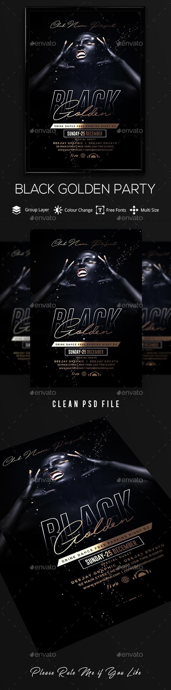 Golden Black Party Flyer - Clubs & Parties Events