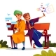 Couple Dating with Smartphones Vector