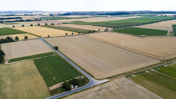 Aerial view of agricultural fields - Stock Photo - Images