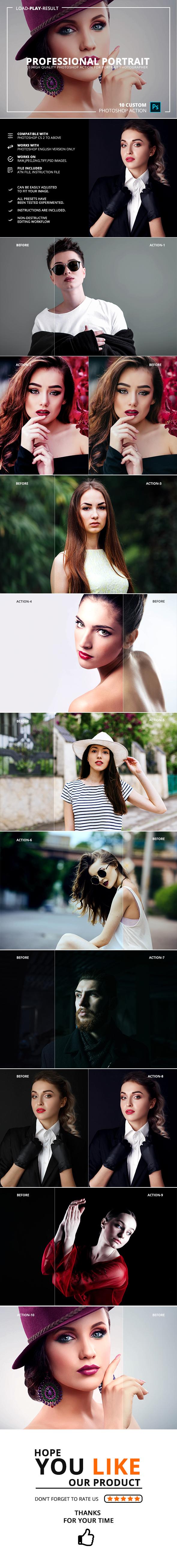 Professional Portrait Photoshop Action - Photo Effects Actions