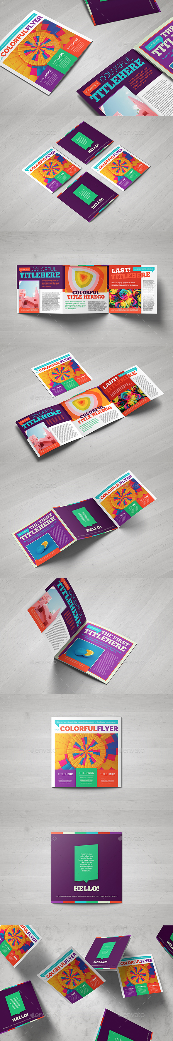 Colorful Square Brochure Template - Brochures Print Templates