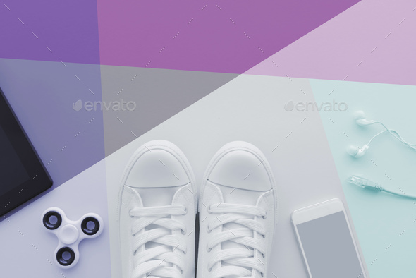 Teen generation gadgets flat lay top view with copy space - Stock Photo - Images