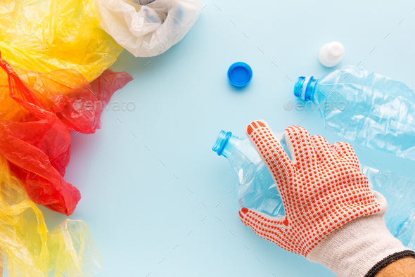 Worker sorting plastic garbage for recycling - Stock Photo - Images