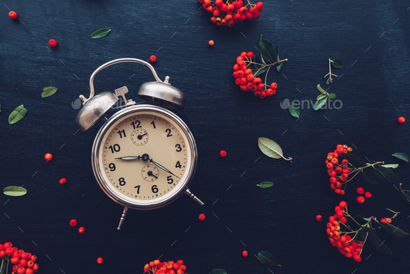 Flat lay vintage alarm clock on dark background - Stock Photo - Images