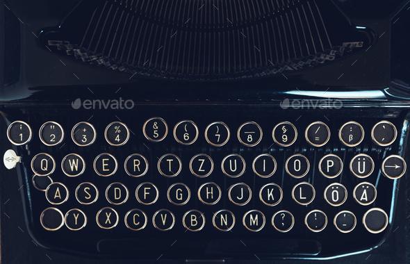 Vintage typewriter machine on writers desk Stock Photo by stevanovicigor