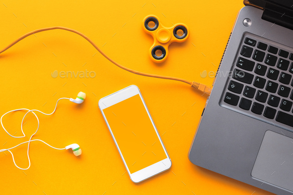 Gadgets belonging to young person, top view flat lay - Stock Photo - Images