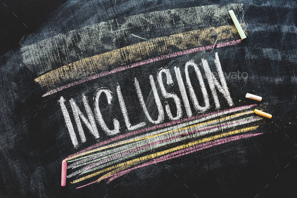Word Inclusion on school blackboard - Stock Photo - Images