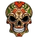 Day of The Dead Skull with Floral Ornament - GraphicRiver Item for Sale