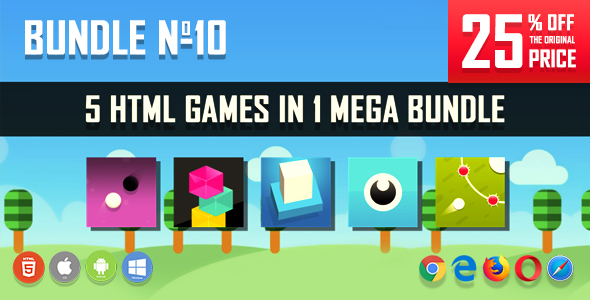 5 HTML5 Games + Mobile Version!!! BUNDLE №10 (Construct 2 / CAPX)            Nulled