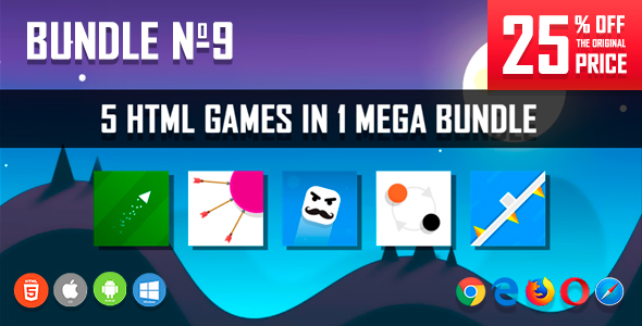5 HTML5 Games + Mobile Version!!! BUNDLE №9 (Construct 2 / CAPX)            Nulled