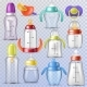 Baby Bottle Vector Kids Plastic Containers