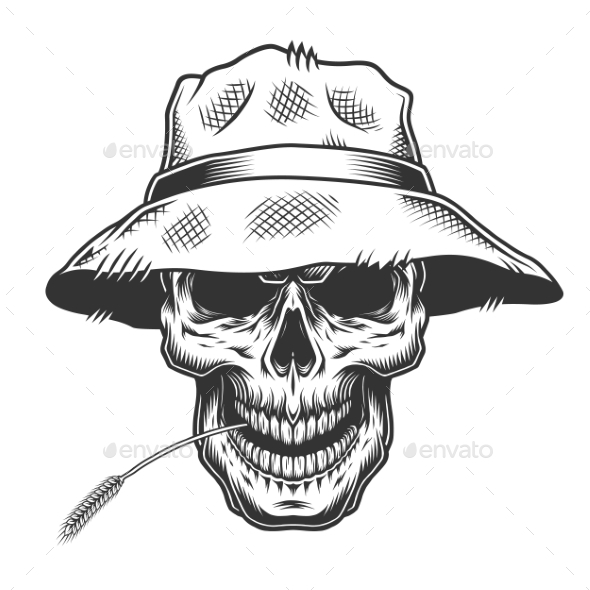 Skull In The Straw Hat By Imogi Graphicriver