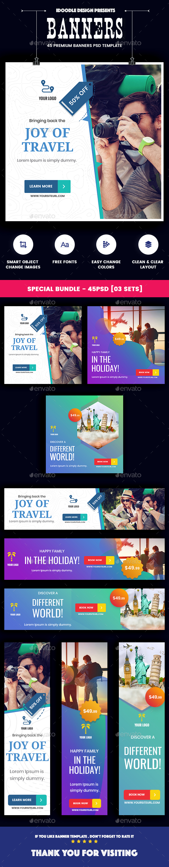 Bundle Travel Agency Banner Ads - 45 PSD [03 Sets] - Banners & Ads Web Elements