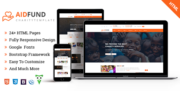 Aid Fund - Charity, Non Profit, HTML Template - Charity Nonprofit