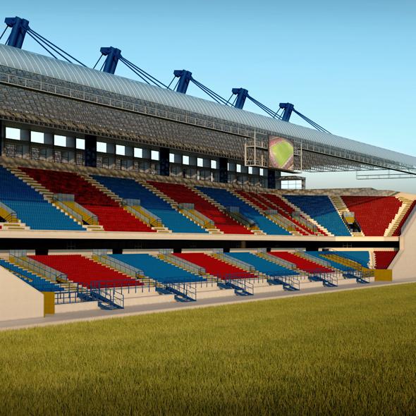 Stadium seating tribune wide high detail - 3DOcean Item for Sale