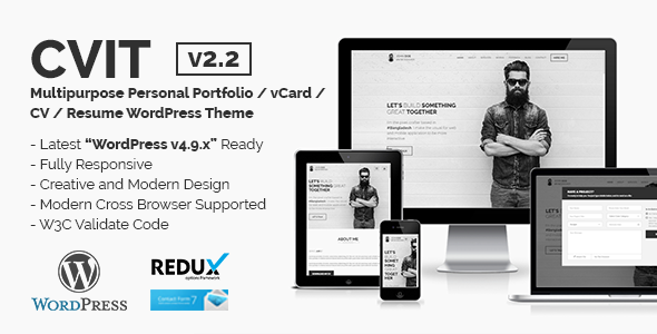 CVIT | Multipurpose Personal Portfolio / vCard / CV / Resume WordPress Theme