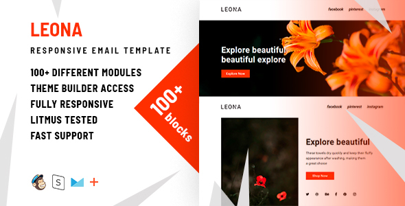 Leona – 100+ Modules - Responsive Email + StampReady Builder & Mailchimp Editor - Email Templates Marketing