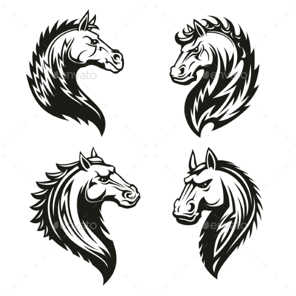 Tribal Horse Heads - Animals Characters