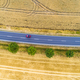 Aerial view of a red car moving on the country road between agricultural fields - PhotoDune Item for Sale